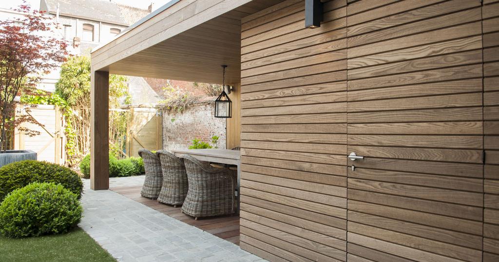 Gevelbekleding thermo hout tablazz interieur en exterieur parket - Overdekt terras in hout ...